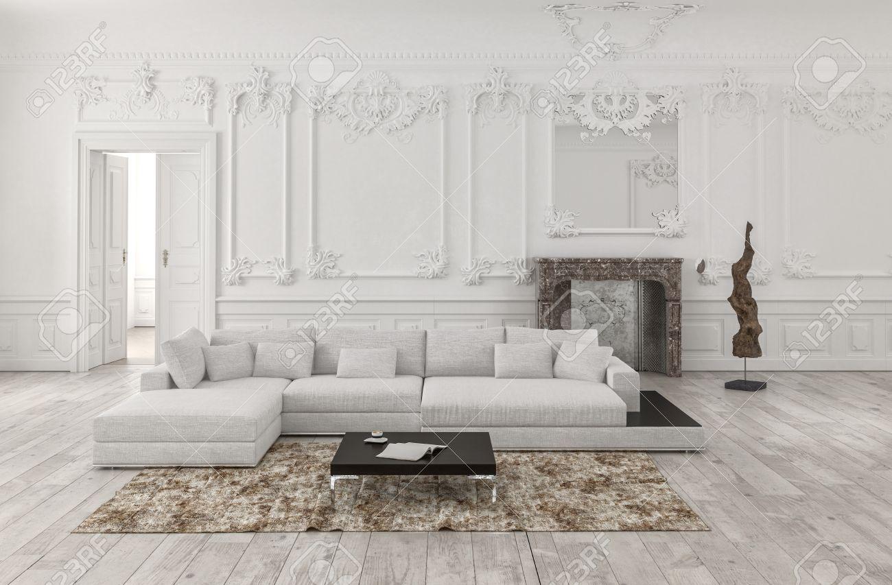 Klassische Weiße 3D Gerendert Monochrome Wohnzimmer Innenraum Mit Täfelung  Und Holzverkleidung An Den Wänden Und Verzierten