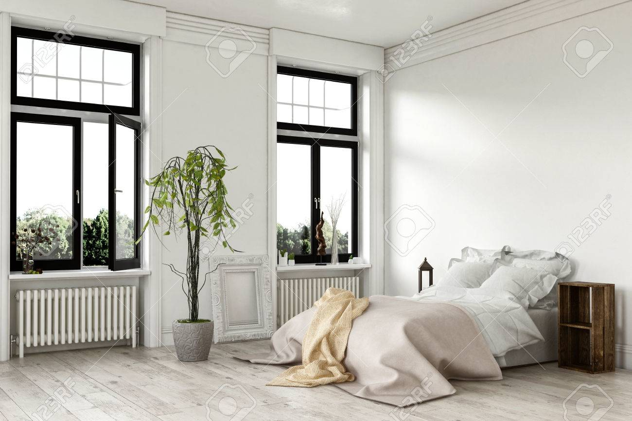 Airy bright white bedroom interior with large double windows..