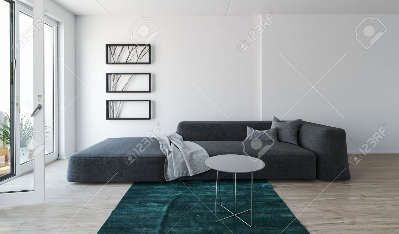 Modern Comfortable Grey Day Bed Sofa In A Living Room Interior ...
