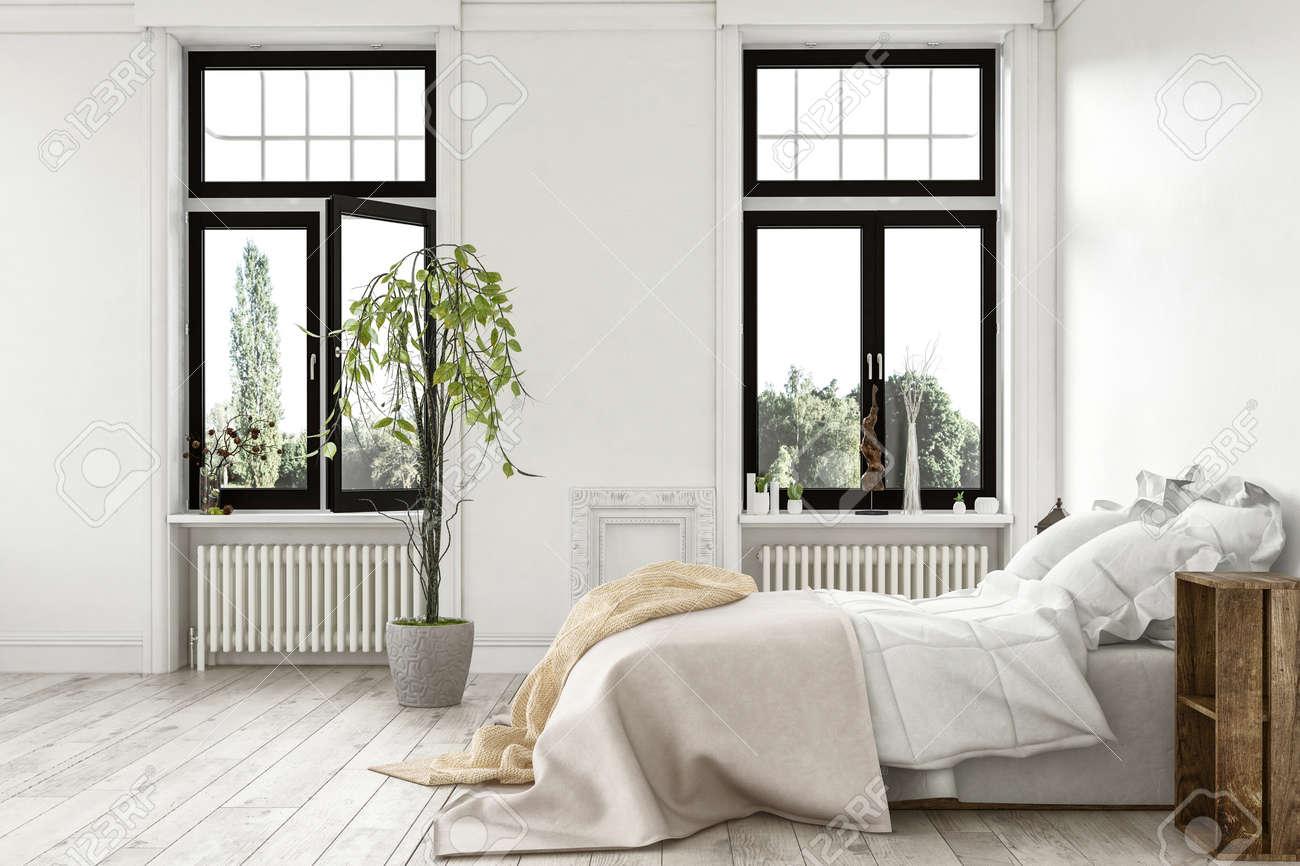 Helles Licht Modernen Luxus Schlafzimmer Mit Großen Fenstern Einen Garten  Und Monochrom Weißen Holzboden Und