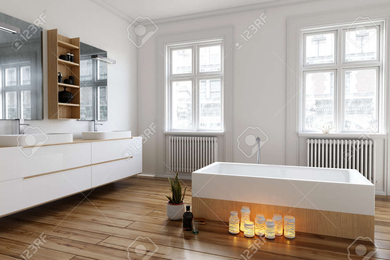 Group of burning candles on the wooden floor alongside the bathtub in a spacious bright white bathroom with large windows and wall-mounted vanities, 3d render Standard-Bild - 67510968