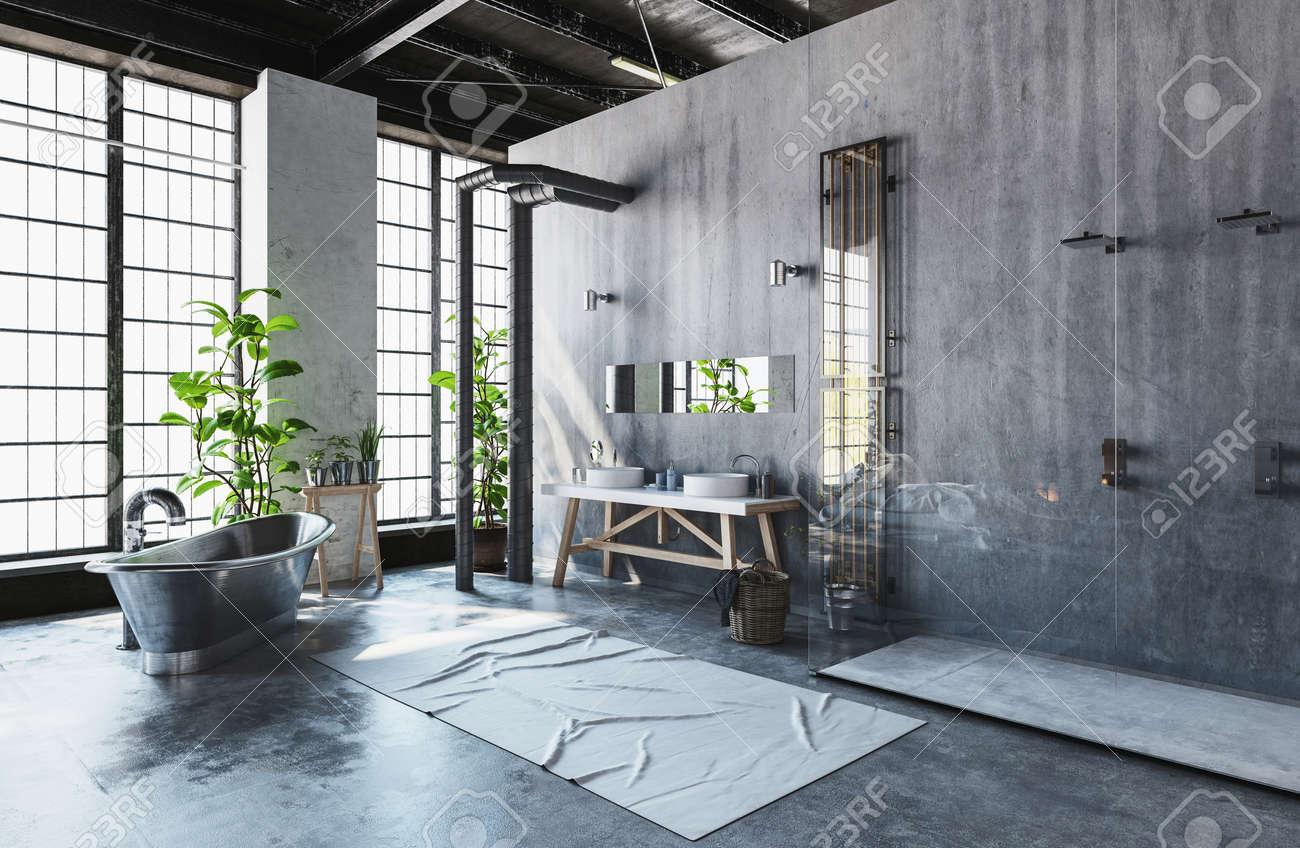 Conversion de loft industriel moderne dans une salle de bains minimaliste  hipster avec le métal roll-top style vintage baignoire et des plantes en ...
