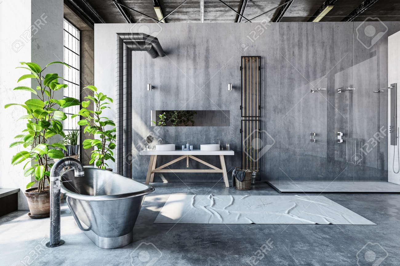 Salle De Bain Industrielle salle de bain intérieur gris stark d'un loft industriel converti avec  baignoire roll top hipster métal et de grandes plantes en pot vertes  fraîches en