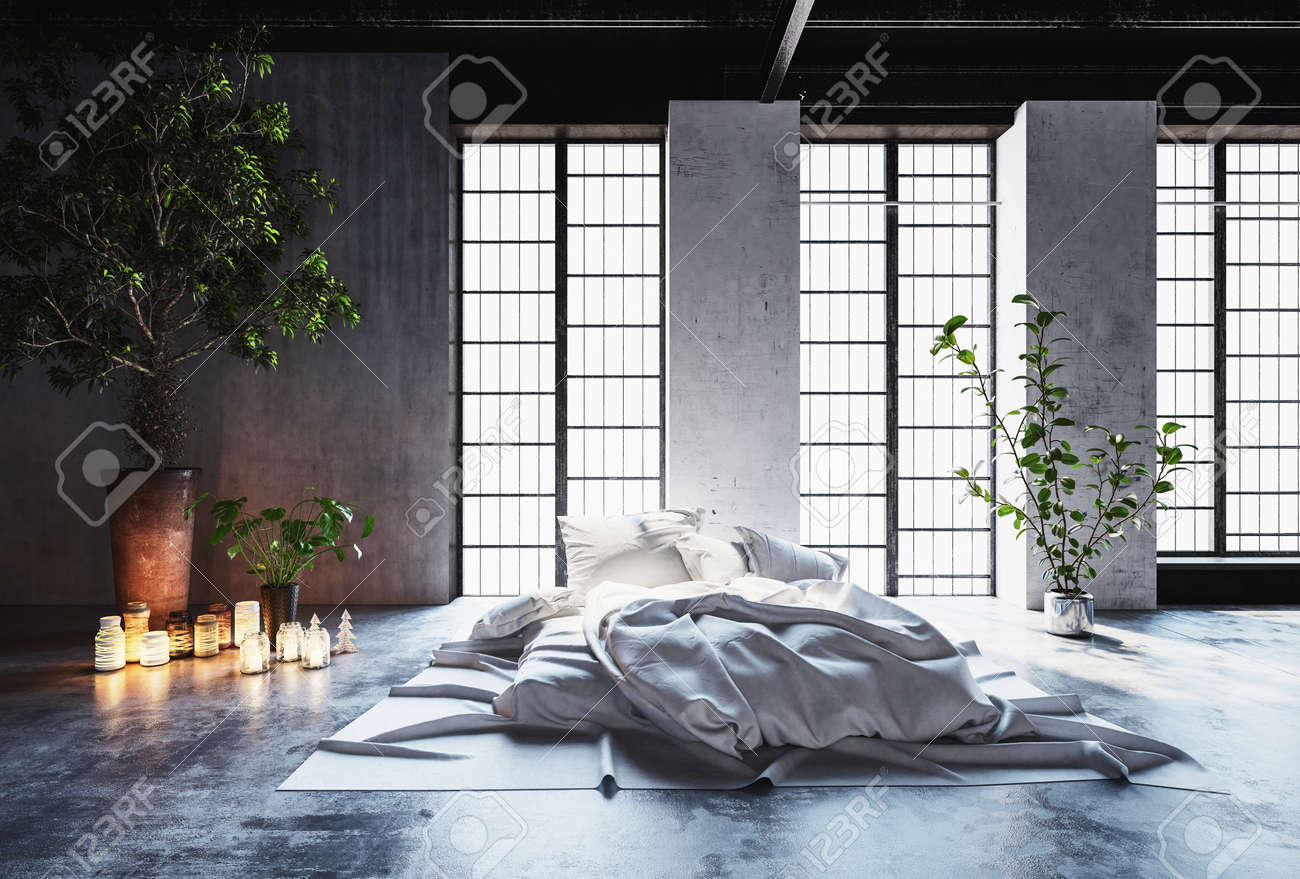 Rumpled Unmade Bed In A Romantic Modern Bedroom With Glowing Candles On The  Floor And A