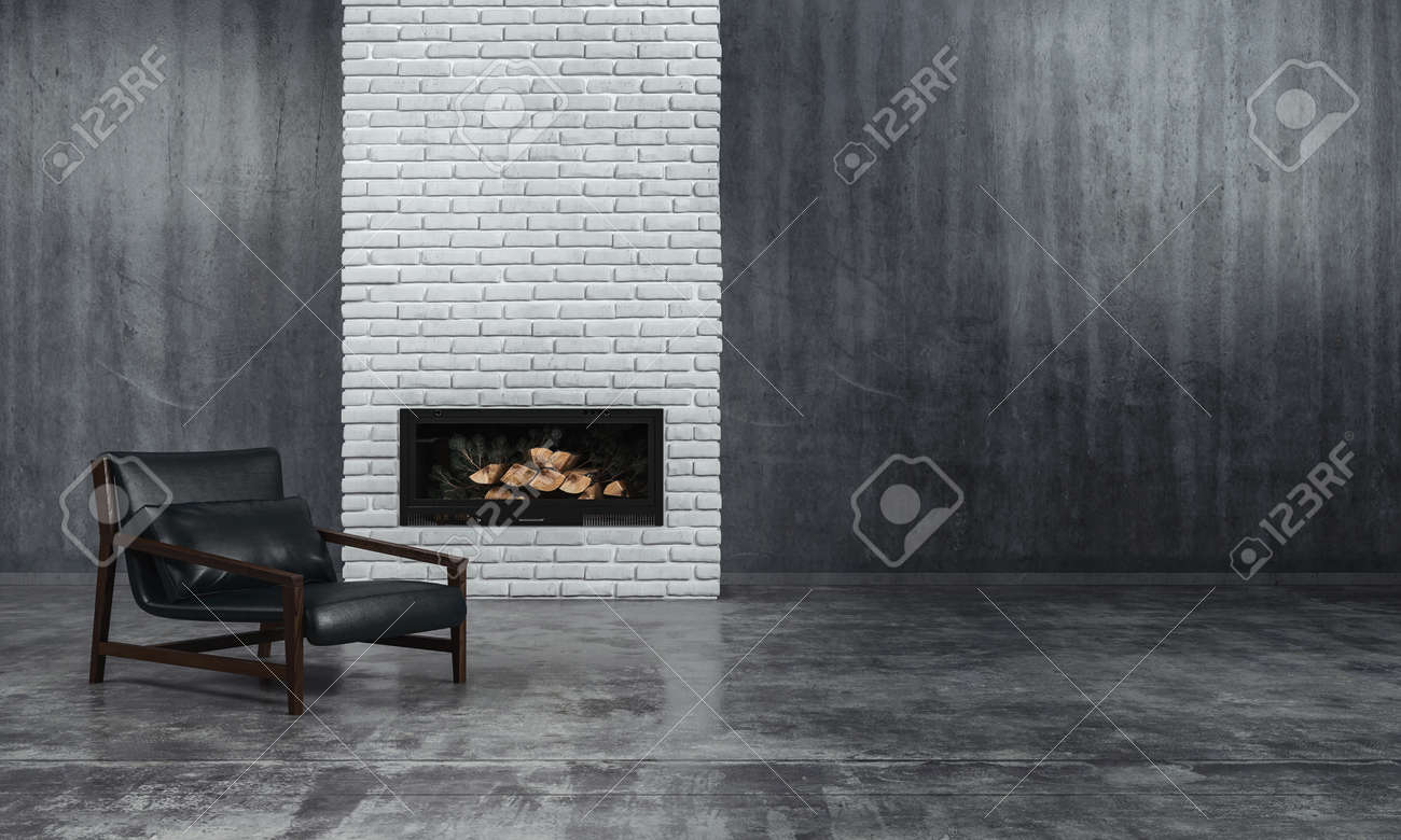 Minimalist monochrome living room interior with grey decor and a low slung leather recliner chair in front of an unlit fire in an inset in a textured brick feature wall, 3d render - 69791179