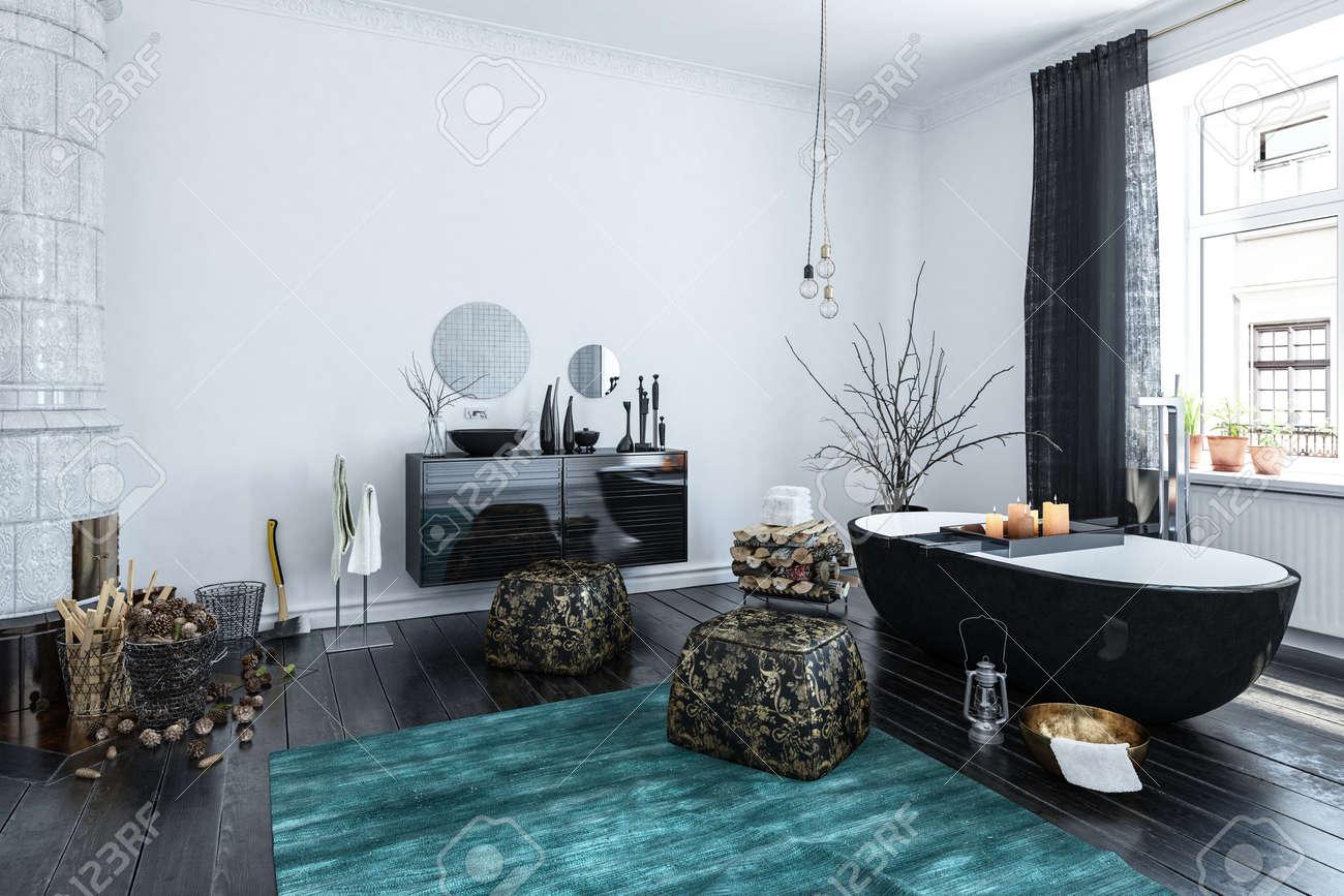 Designer d\'intérieur Salle de bains moderne avec un décor noir et une  finition de style oriental dans une grande salle éclairée par la lumière du  jour ...