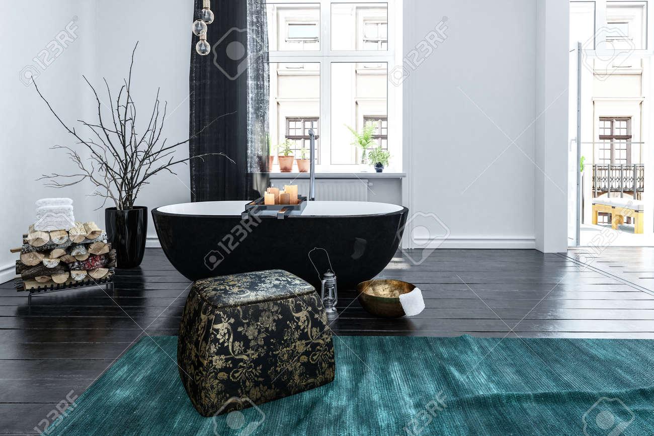 Insolite Noir En Forme De Bateau Baignoire Dans Un Intérieur De ...