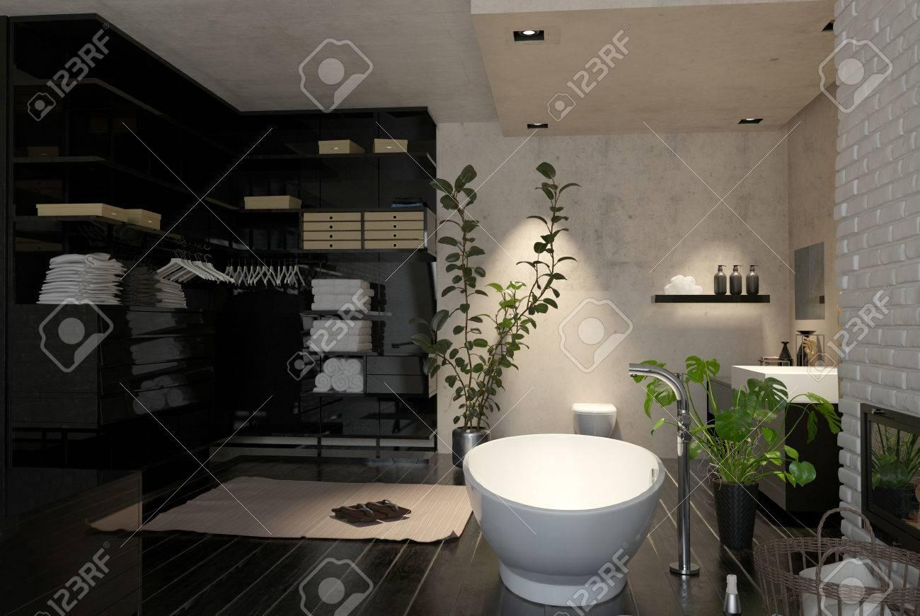 Salle De Bain Dressing grand intérieur de salle de bains moderne avec placard et dressing et un  bateau baignoire autoportante en forme avec houseplants, 3d render