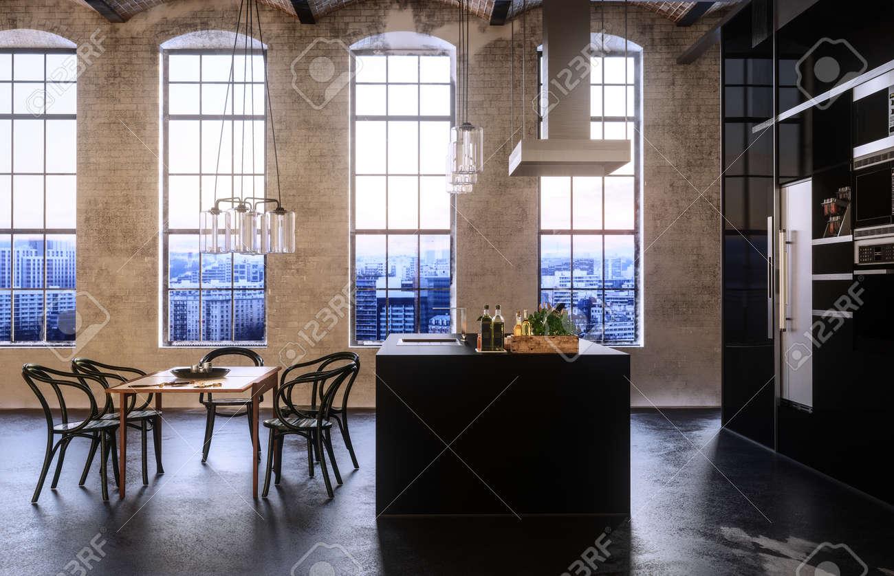 Moderna convertito loft o appartamento con alte finestre ad arco, costruito  in cucina e set di tavolo da pranzo e sedie in un design a pianta aperta.  ...