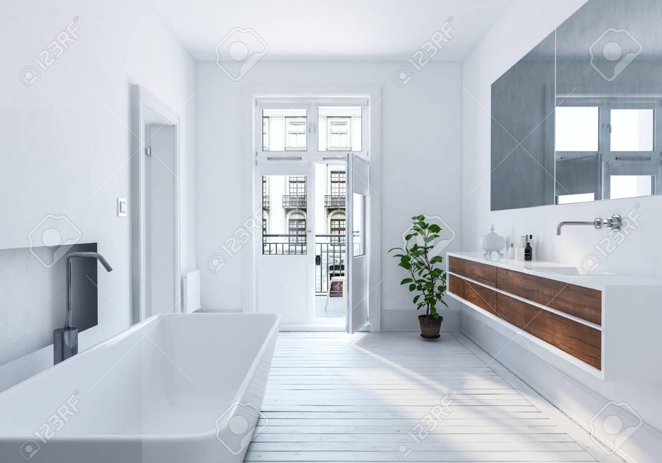 Intérieur Salle De Bain Blanc Urbain Moderne Et Spacieux Avec Grand ...