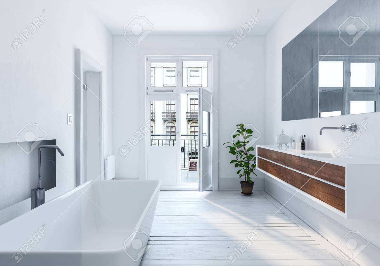 Modern Interieur Wit : Modern spacious white urban bathroom interior with long mirror