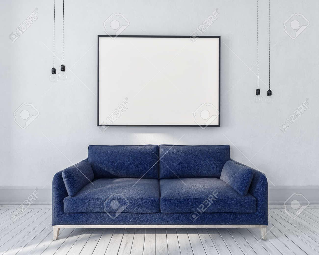Blaue Couch In Einem Einfarbigen Grauen Raum Mit Grossem Rechteckigem