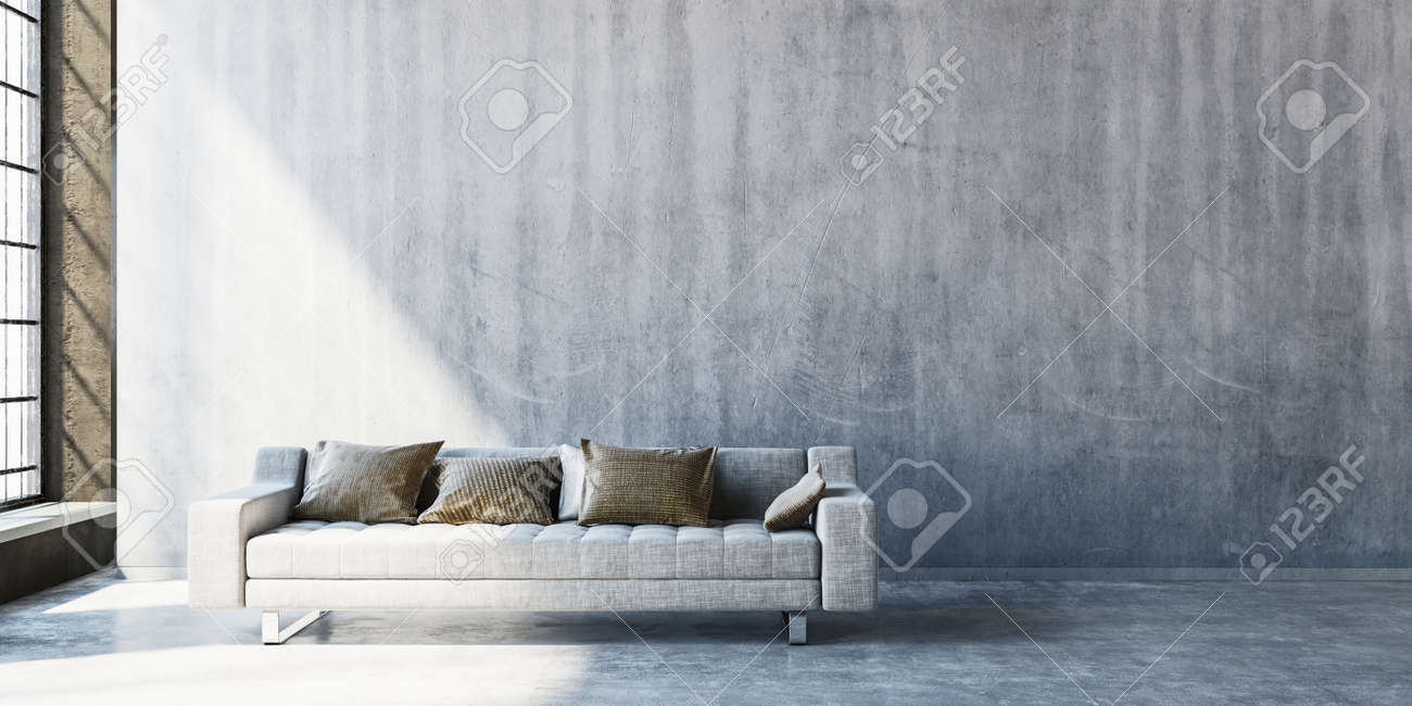 3D render of large sofa on concrete floor with wide blank wall beside tall window. Sunlight streaming in from side. Standard-Bild - 70053687