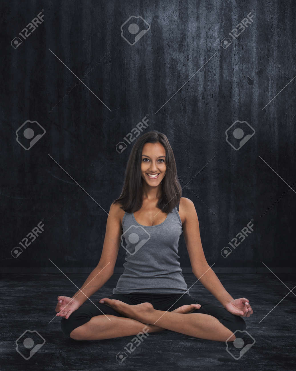 Full Length Portrait Of Smiling Relaxed Indian Woman Practicing Stock Photo Picture And Royalty Free Image Image 72991327