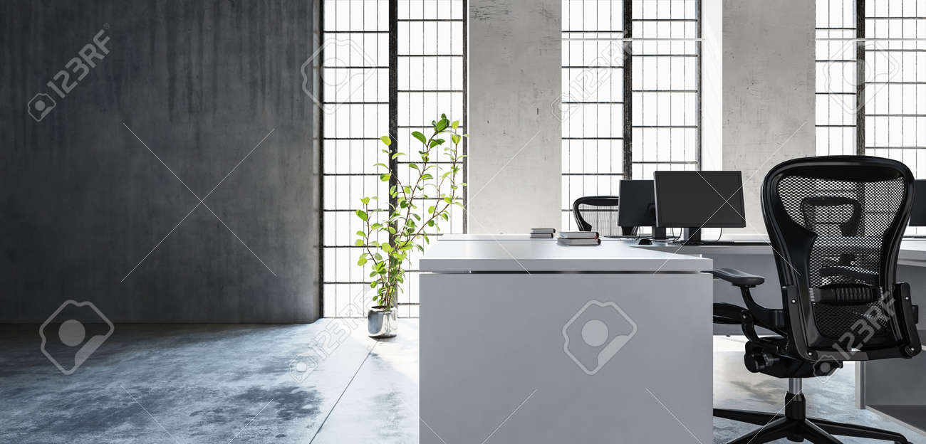 Office workspace in clean minimalist interior style, room with high windows, green plant and concrete floor and wall with copy space. 3d Rendering. - 70053699