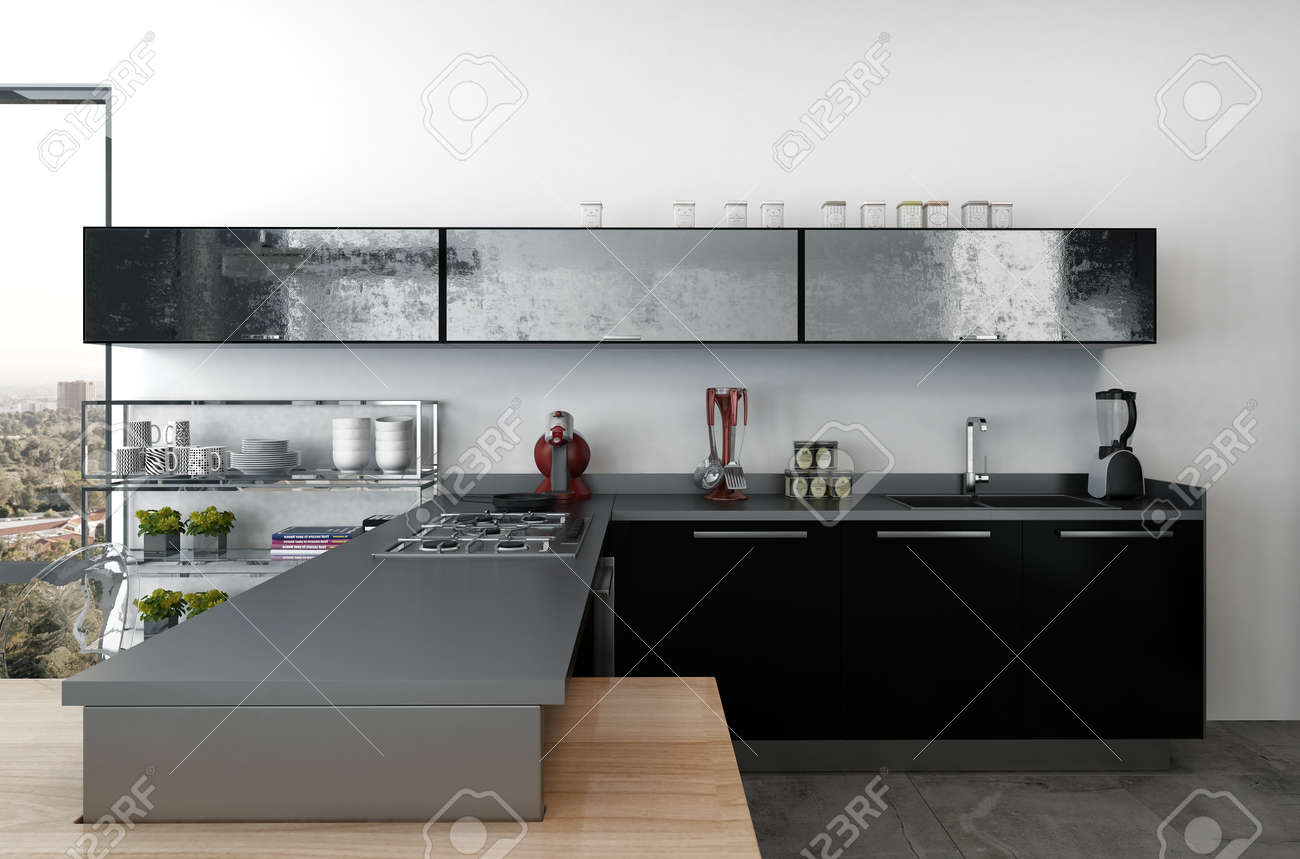 Stock Photo   Stylish Modern Kitchenette With Black Cabinets And Modern  Small Appliances In A Large Open Plan Living Area With View Window, 3d  Render
