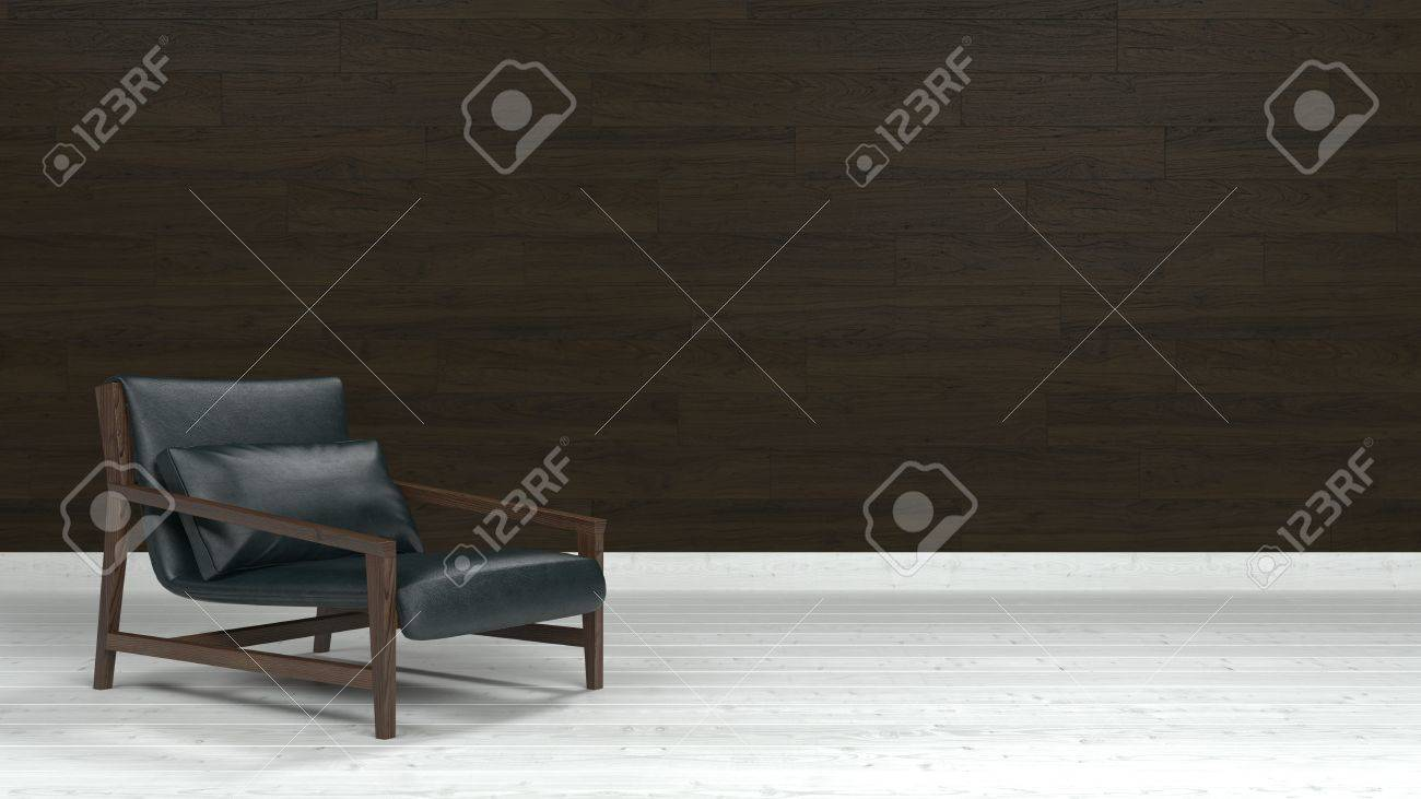 Fußboden Aus Leder ~ Low lounge sessel aus holz und schwarzem leder auf weißem fußboden