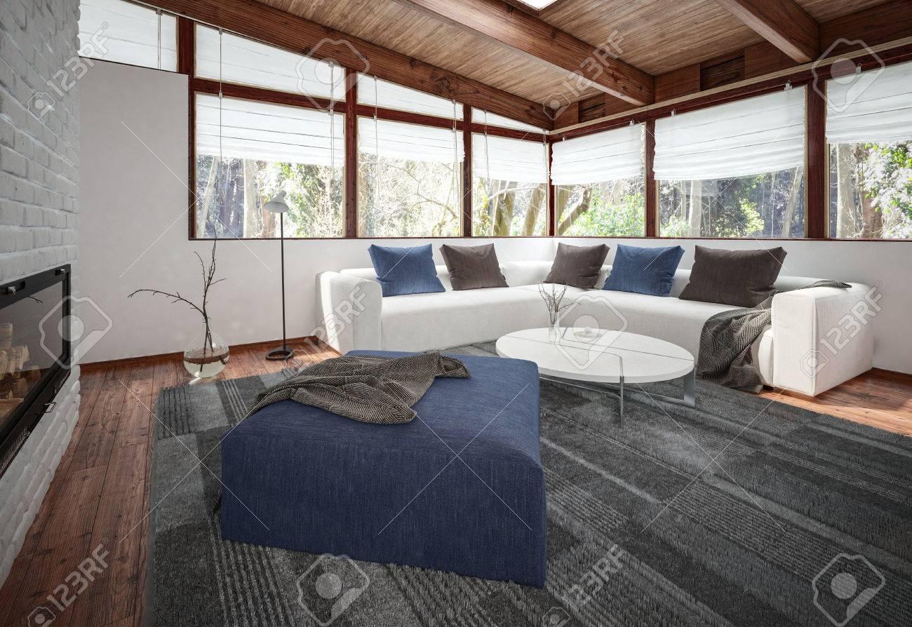 Blick Auf Geräumiges Wohnzimmer Mit Weißem Sofa, Boden Teppich Und ...