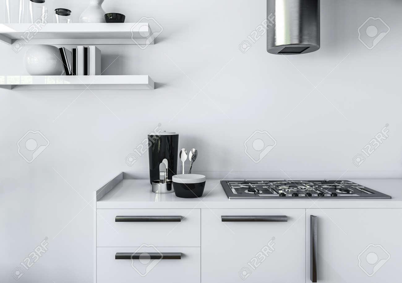 Modern Kitchen Stove modern kitchen minimalist interior design concept, of white