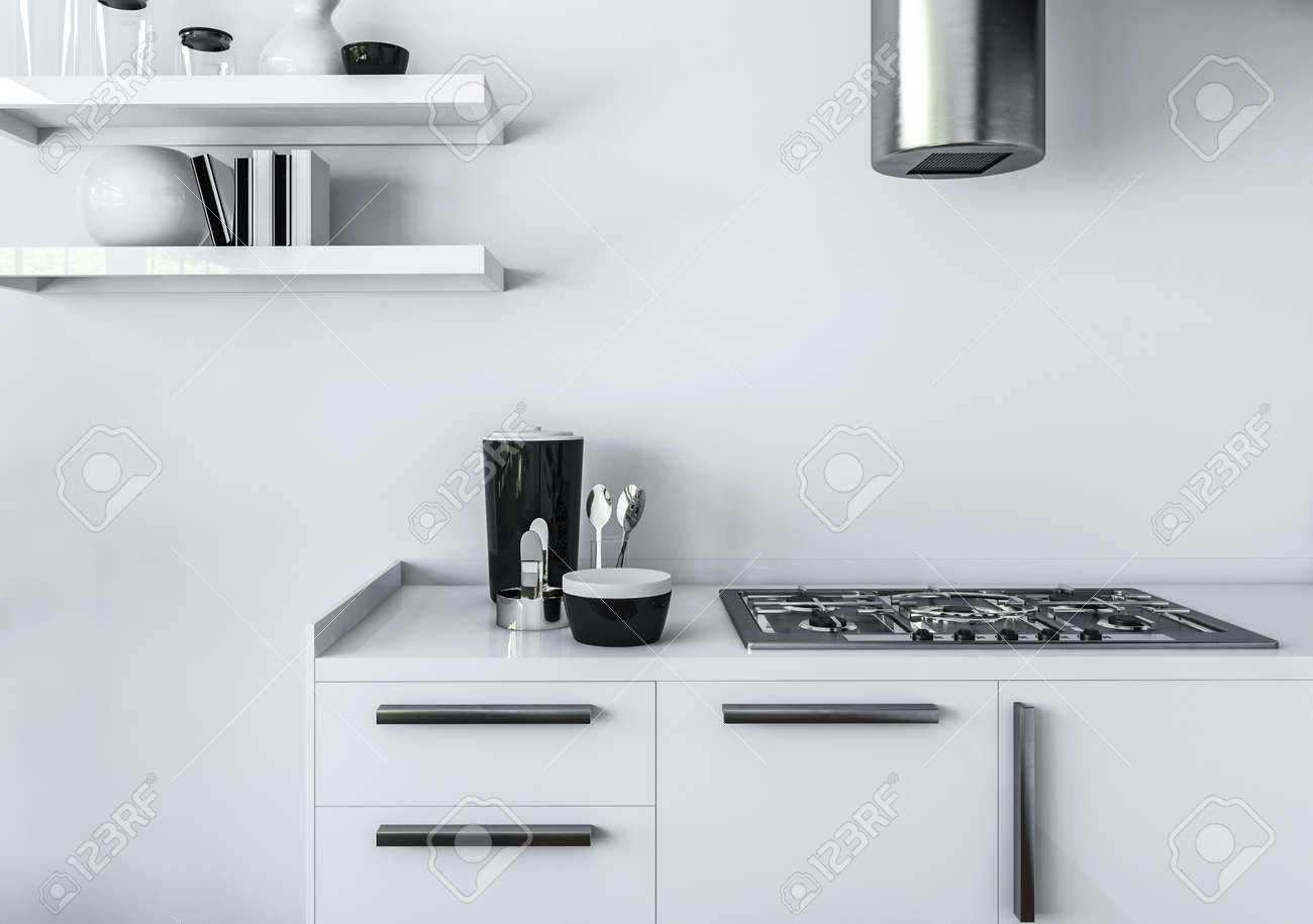 Modern Kitchen Minimalist Interior Design Concept, Of White Furniture, And  Gas Stove With Shiny