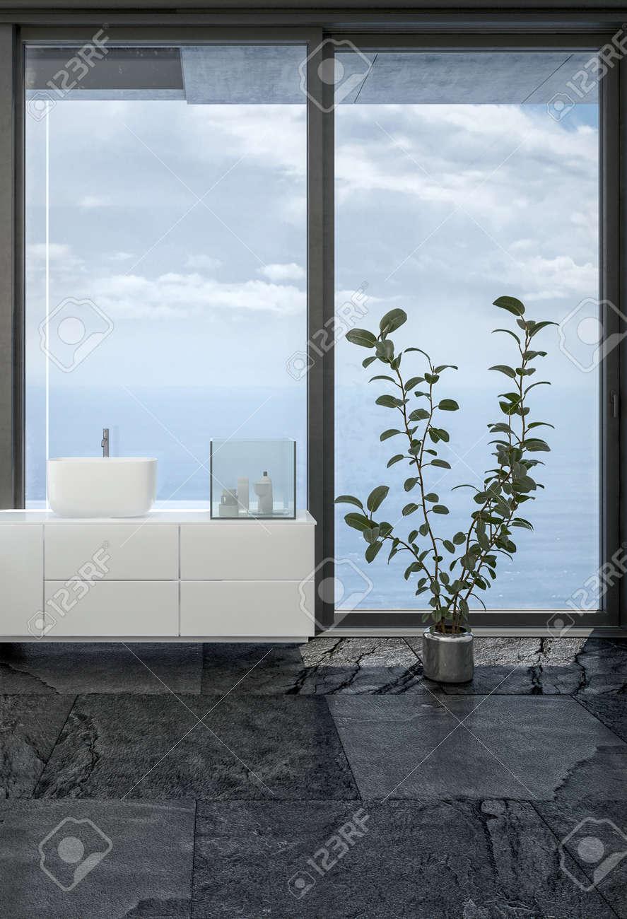 Salle De Bain Sol Noir ~ vue de meubles de salle de bains et plantes d int rieur sur sol noir