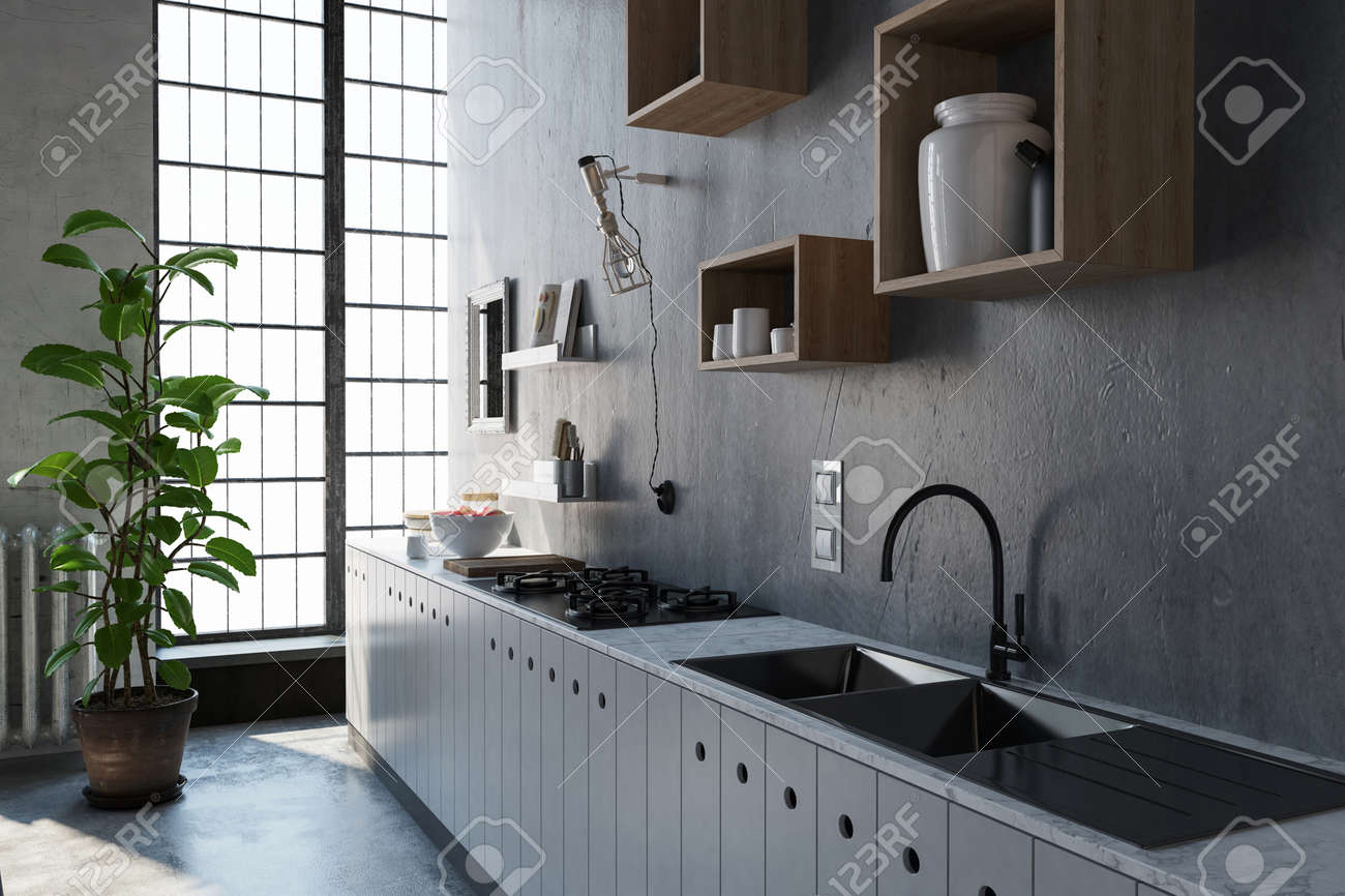 3D rendered scene with large kitchen sink and cabinet. Light..