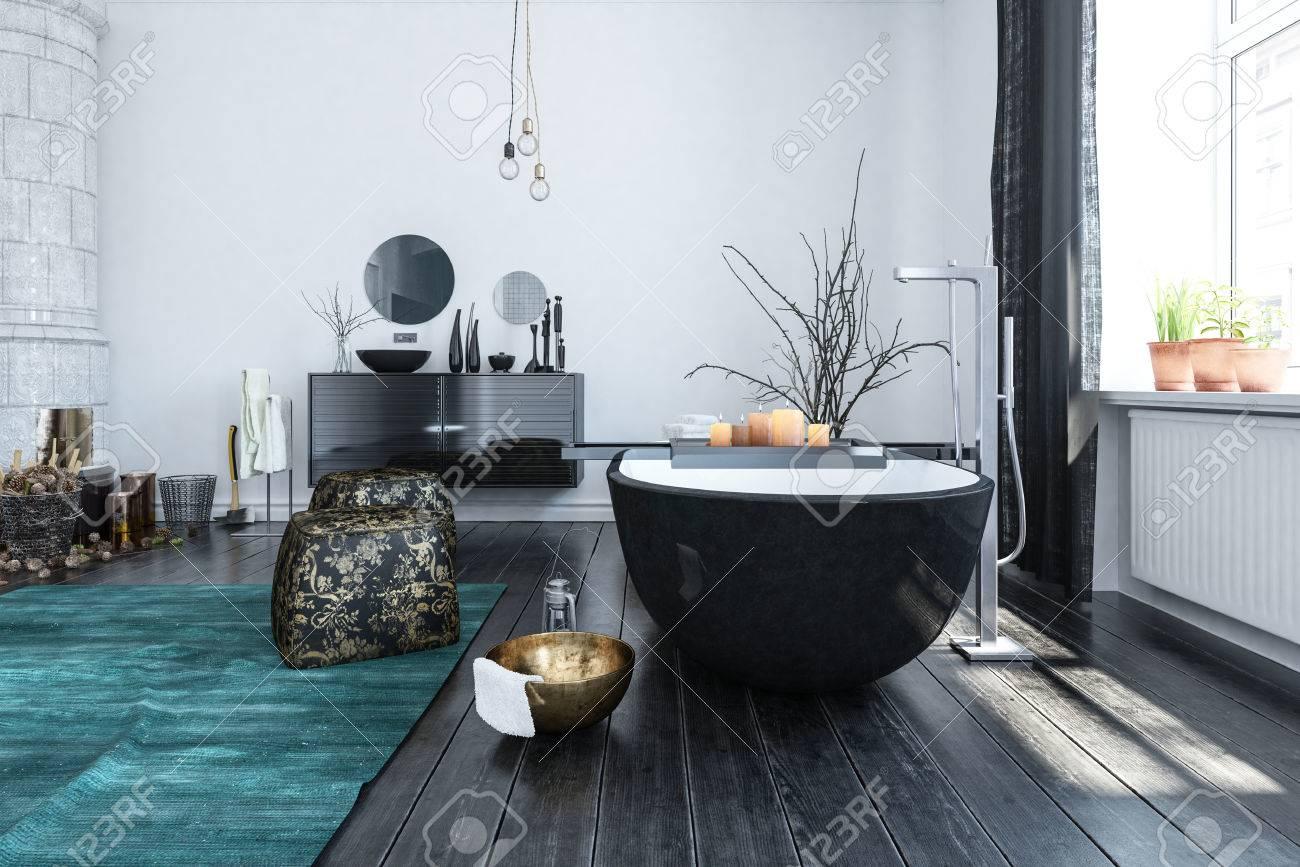 Salle de bains moderne éclectique avec beaucoup d\'ornements de style  oriental avec une baignoire noire inhabituelle éclairée par de grandes  fenêtres, ...
