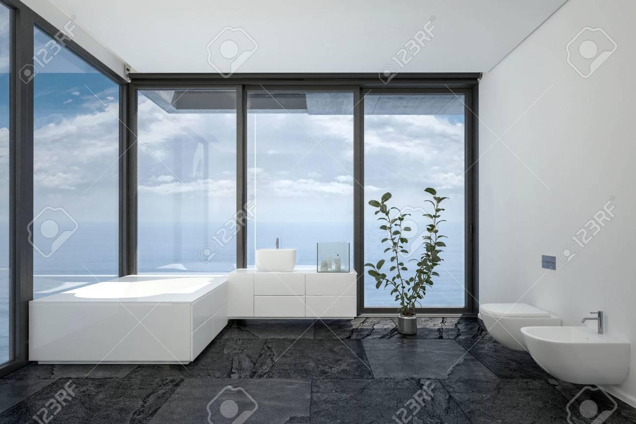 Badezimmer Des Hotelzimmers Oder Penthouse In Minimalistische Interieur  Schwarz Weiß Design Mit Vom Boden
