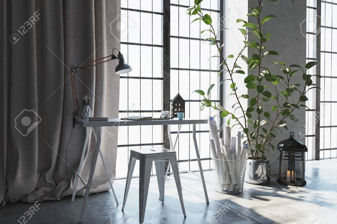 3D scene of small desk with drapes near window. Rolled up papers and plants lay beside it. Standard-Bild - 70446704