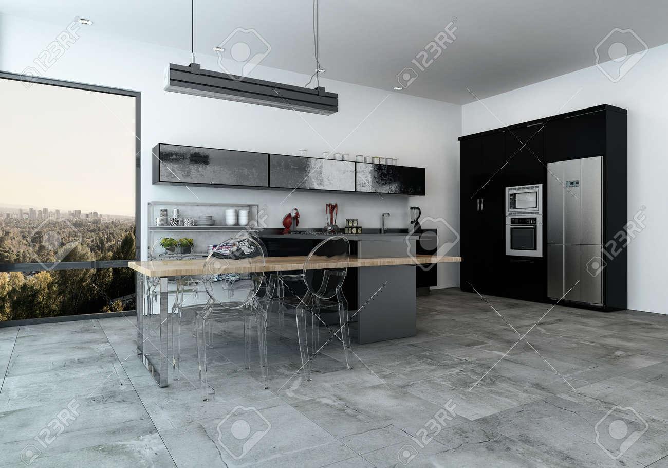 Kitchenette équipée moderne dans un salon spacieux avec carrelage et vue  sur la ville à travers de grandes fenêtres