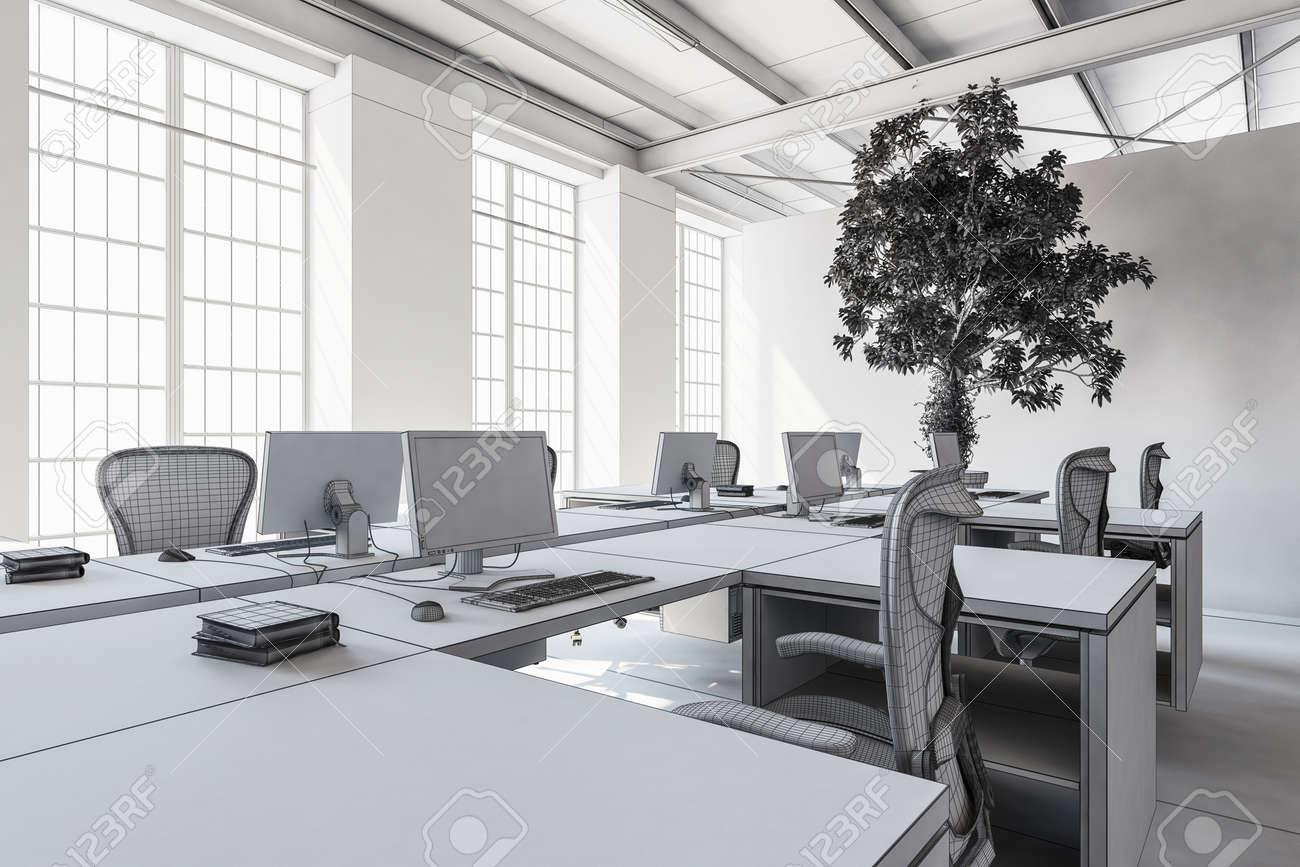 Salle de bureau moderne vide avec un intérieur minimaliste en tons
