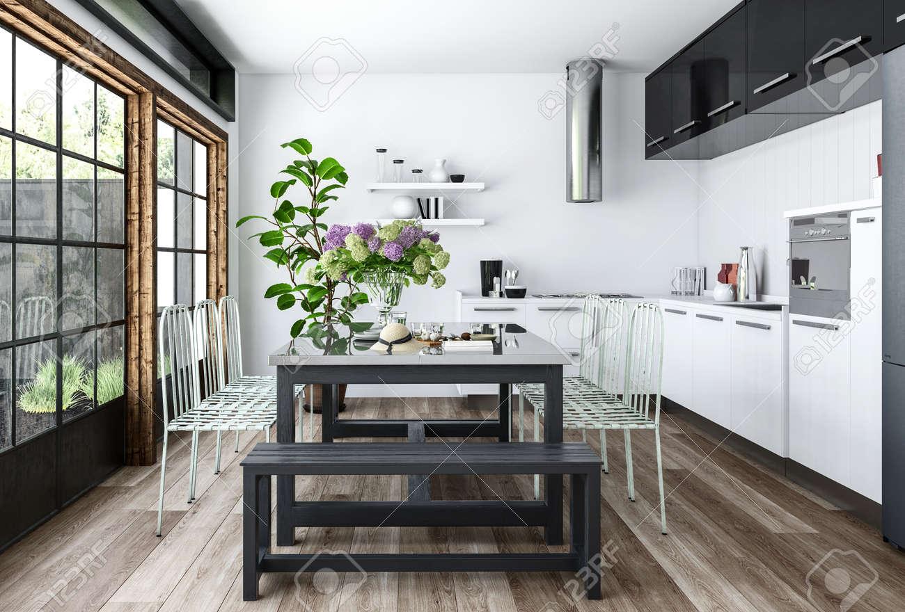 Cocina luminosa en el diseño interior minimalista blanco y negro con mesa  de comedor decorado con plantas de interior, cerca de enormes ventanas