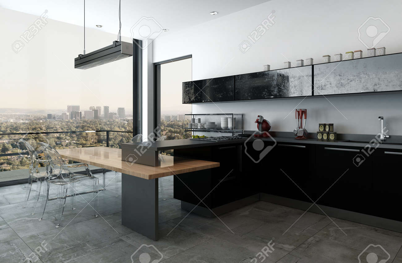 Modern Luxury Kitchen In A High Rise Apartment With Bar Counter Stock Photo Picture And Royalty Free Image Image 70446774