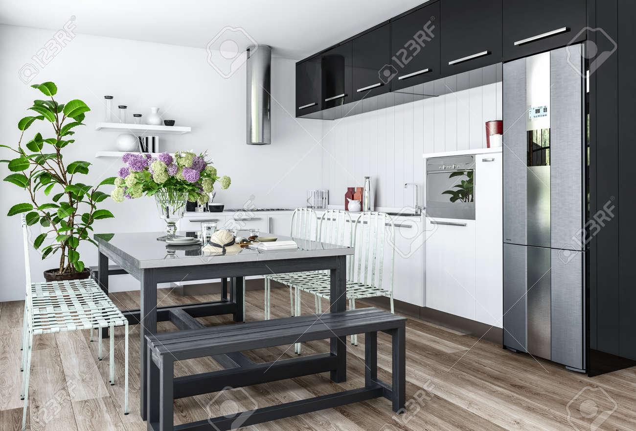 Cocina moderna en el diseño interior minimalista con muebles de color  blanco y negro y mesa de comedor con sillas y bancos. Representación 3D.