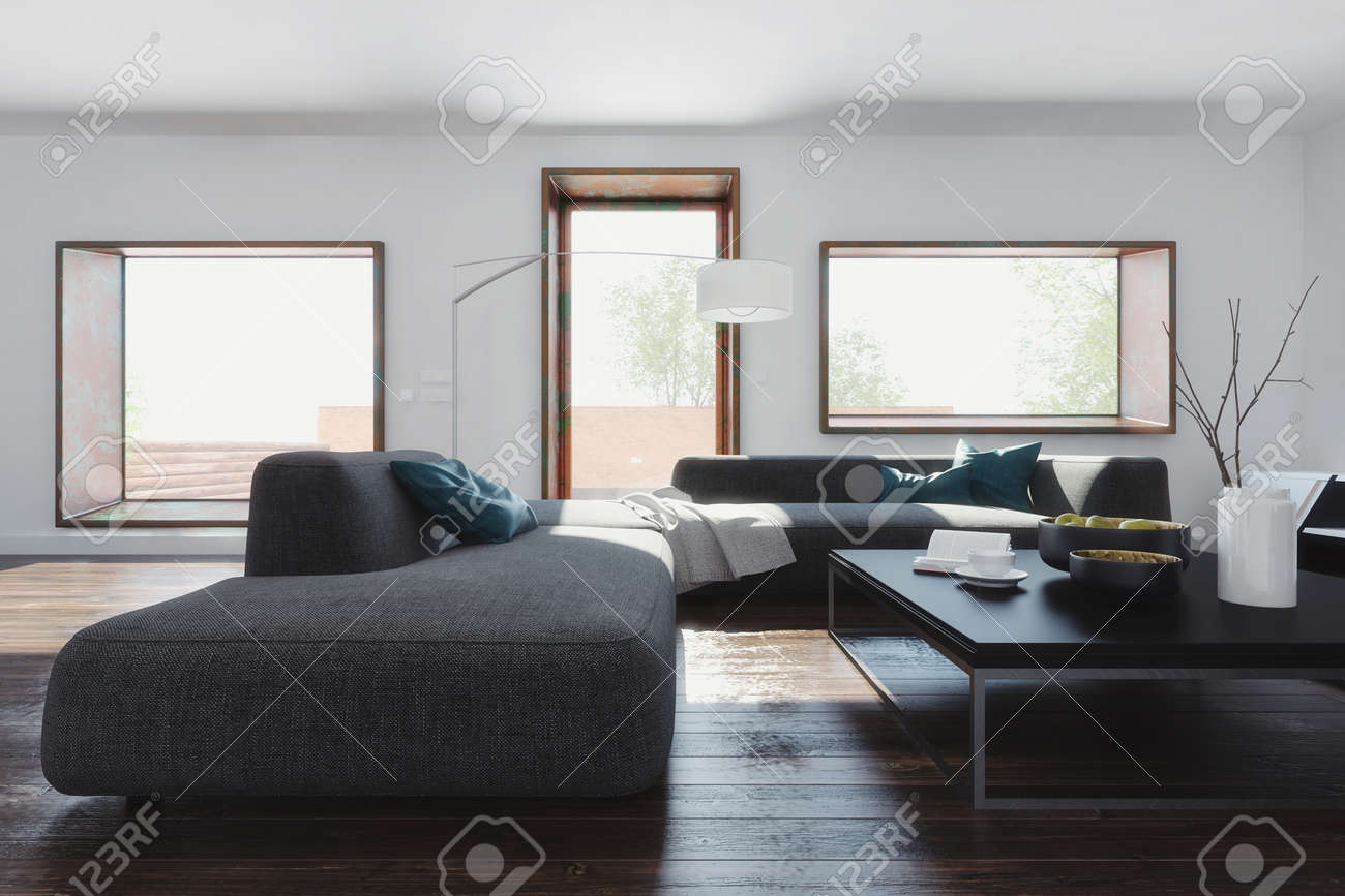 Room With White Walls Long Sofa And Coffee Table On Dark Wooden