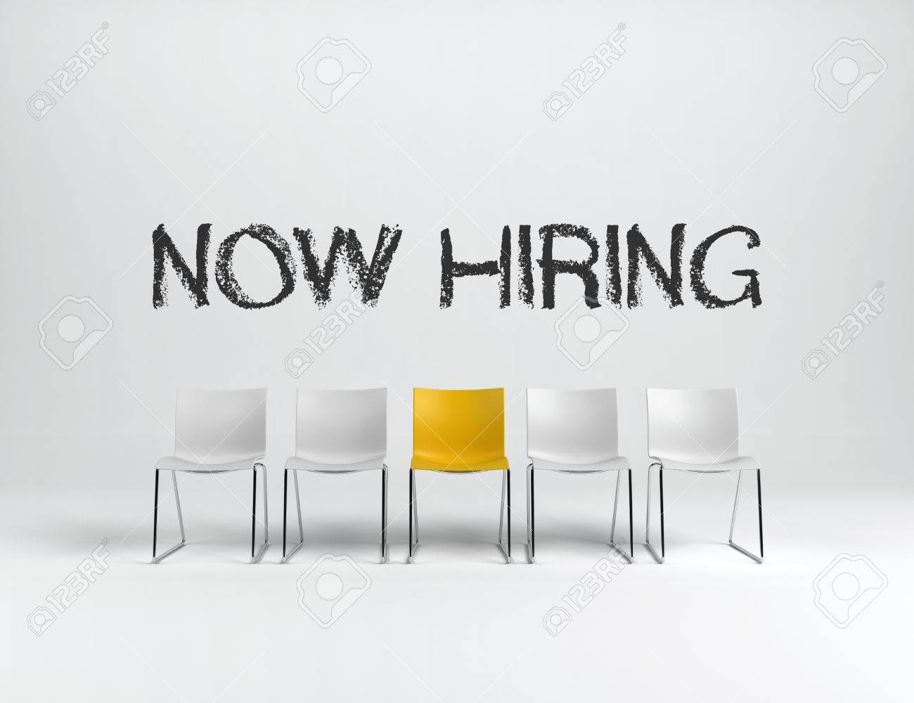 Empty white and yellow chairs on white background with NOW HIRING sign in center. Business concept. 3d rendering. Standard-Bild - 70446777