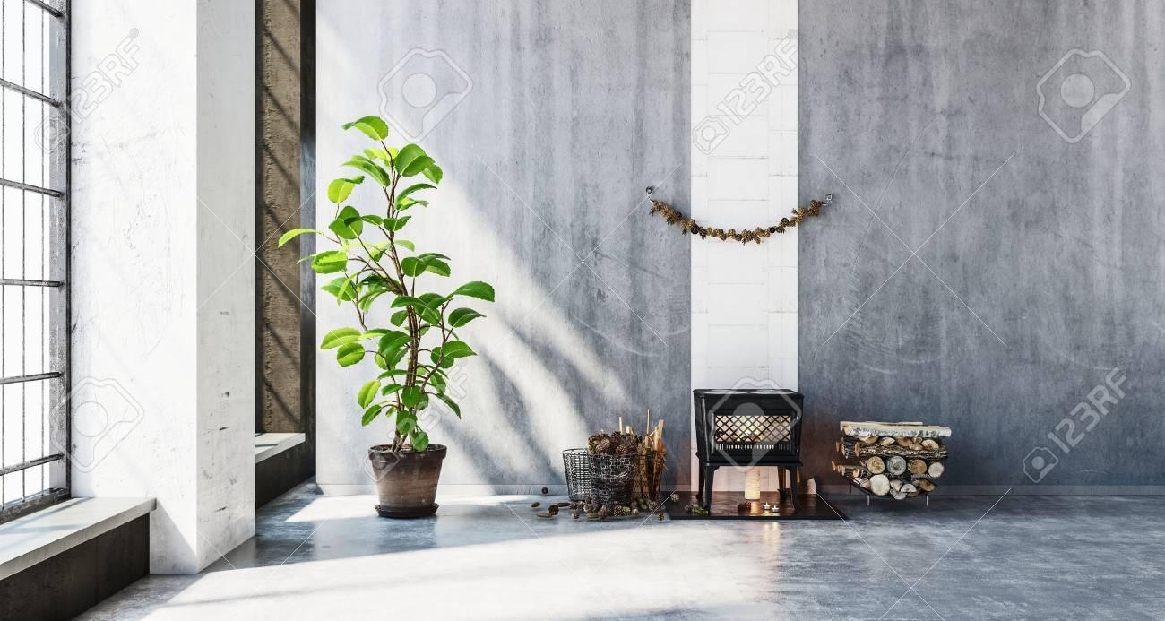 Gerenderten 3D Szene Von Kleinen Holzofen Im Zimmer Neben Stapel Von  Protokollen. Große Wände