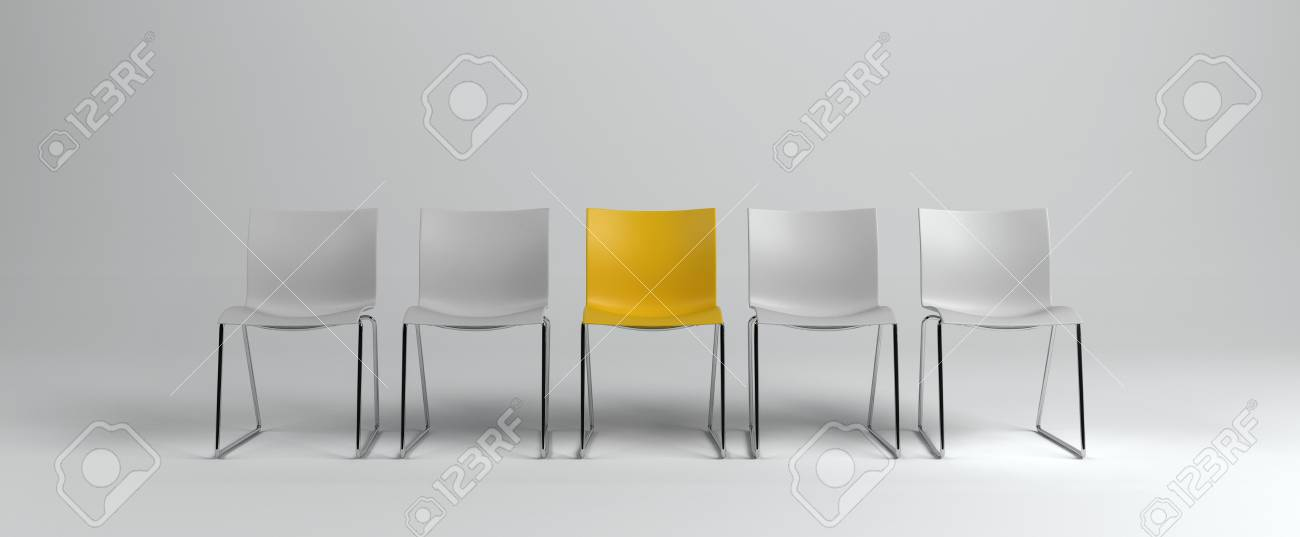 Stock Photo   White Empty Chairs With One Yellow In Middle Standing In Row  Isolated On White Background. Business Hiring Concept. 3d Rendering