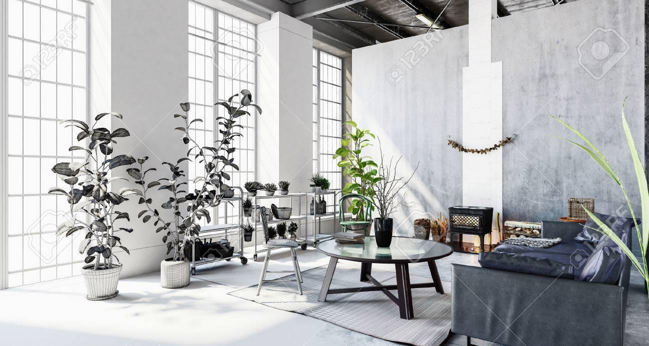 moderne penthouse wohnung, das innere der stilvolle, moderne penthouse-wohnung mit großen, Design ideen