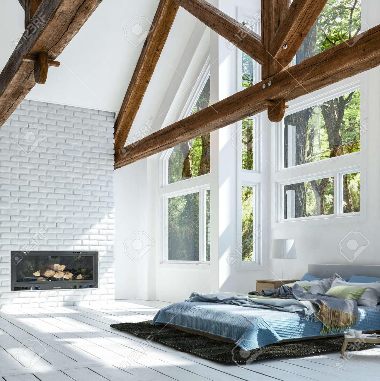 Cama Grande En El Suelo Blanco En La Habitación Luminosa, Con Vigas ...