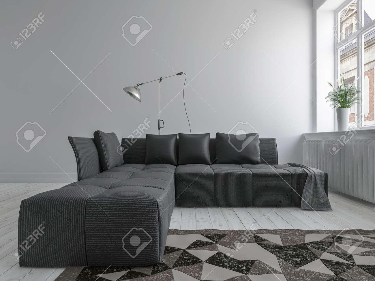 Tapis Et Canapé D Angle canapé d'angle noir et le tapis dans minimaliste salle de design  d'intérieur avec un sol blanc, près d'une fenêtre lumineuse. rendu 3d.