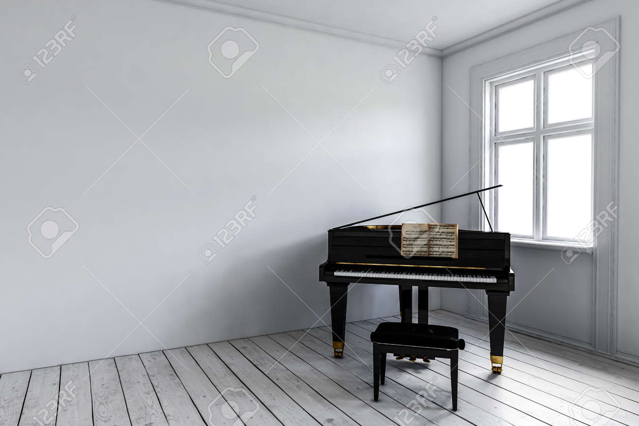 White room with black piano and chair standing near window. Minimalist interior design concept with copy space. 3d rendering. Standard-Bild - 70446809