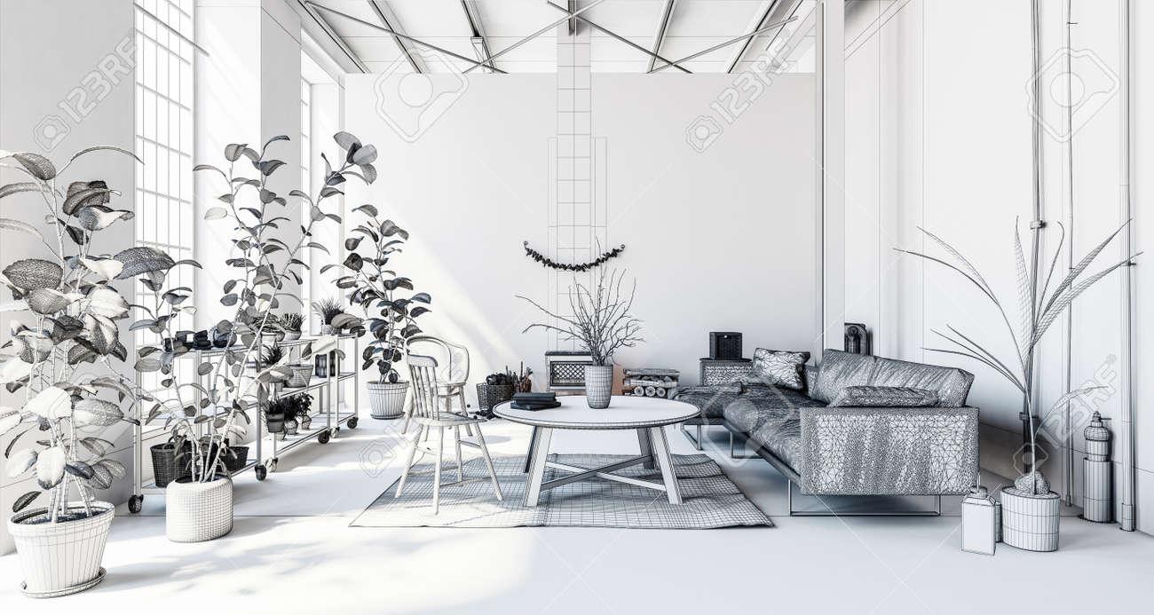 Luxuriöses Modernes Wohnzimmer In Wohnung Mit Zimmerpflanzen, Sofa ...
