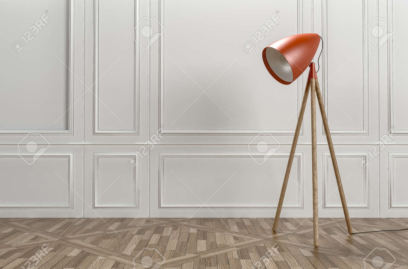 Retro Style Red Tripod Floor Lamp In A Classic Interior With Patterned  Parquet Flooring And Wood