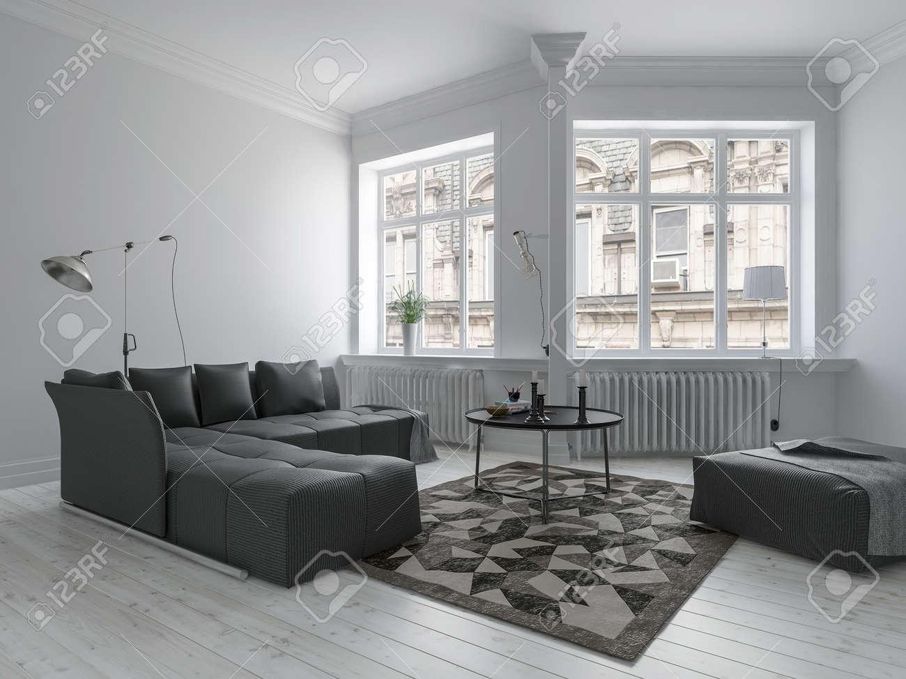 Bright living room in minimalist design with white walls, dark..
