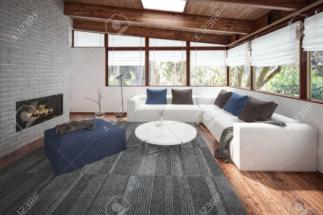 Woonkamer met houten vloer en het plafond veel ramen en open haard