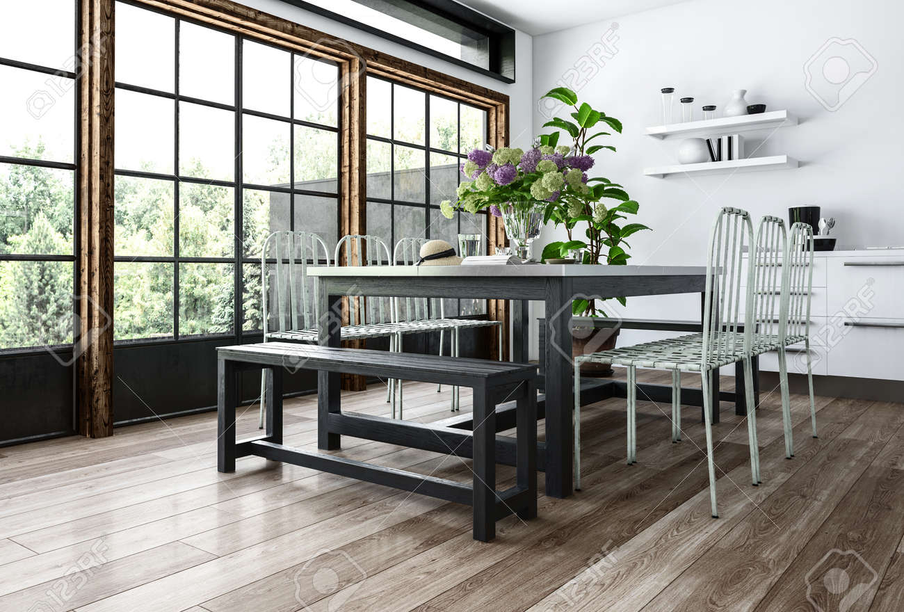 Modern Dining Room In Minimalist Interior With Chairs And Benches Near Table  With Flowers, Big