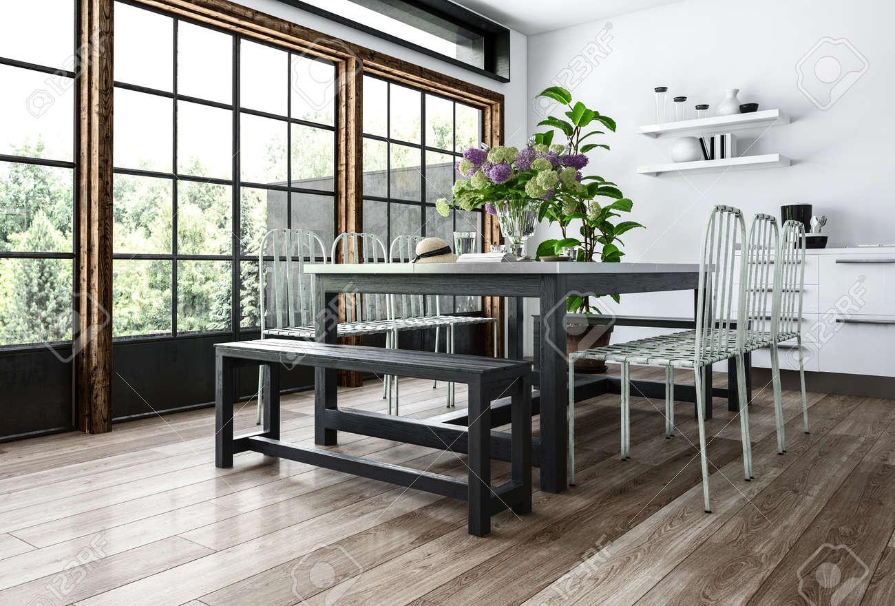 Moderne Esszimmer In Minimalistischem Interieur Mit Stühlen Und Bänken In  Der Nähe Tisch Mit Blumen,