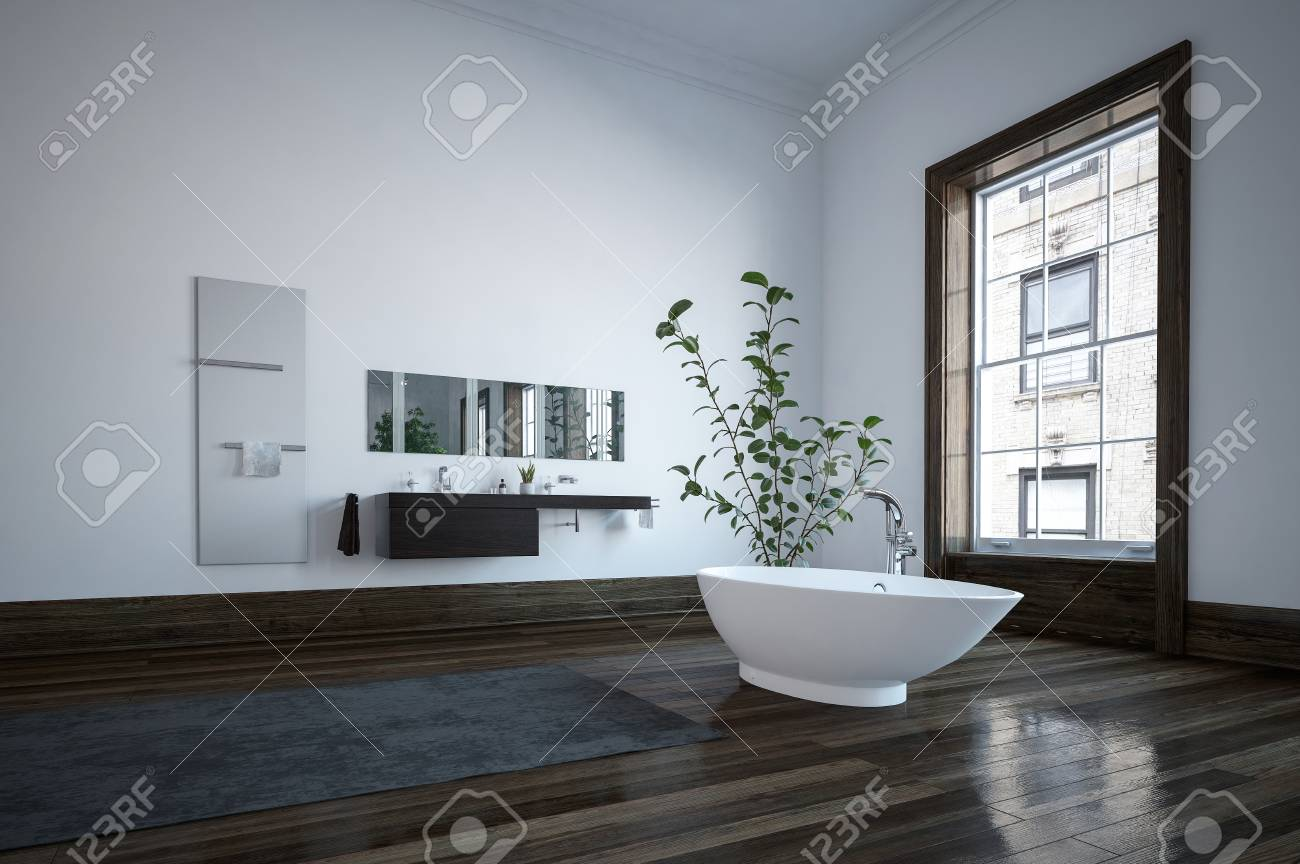 Spacious Bathroom In Minimalist Interior Design With Modern ...