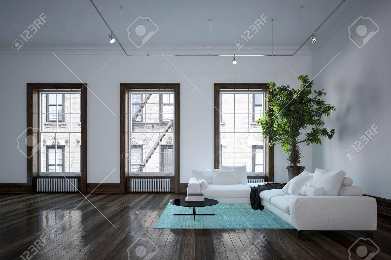 Intérieur salon urbain moderne Minimaliste avec un décor en noir et blanc,  canapés d\'angle sur un tapis vert d\'accent et une grande plante en pot en  ...